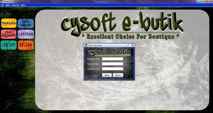 kasir ubah password- cysoft e-butik