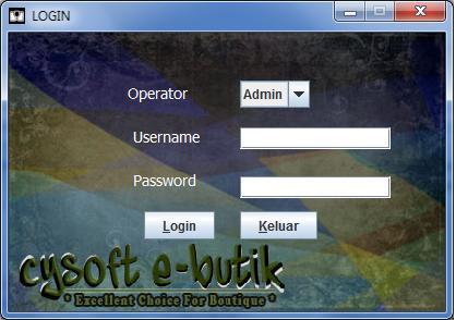 login Cysoft e-butik aplikasi butik/distro