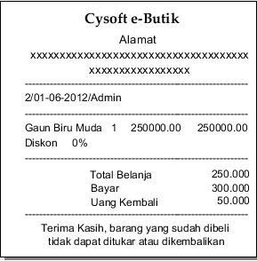 nota cysoft e-butik, soaftware untuk butik & distro