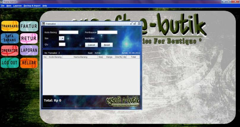 transaksi admin - cysoft e-butik